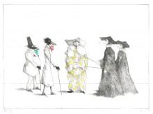 Paul Flora Die Monsieurs Corbeau mit Harlekin und Pestdoktoren