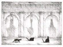 Paul Flora - Drei Katzen in Venedig