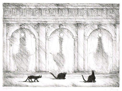 Paul Flora Drei Katzen auf der Piazza