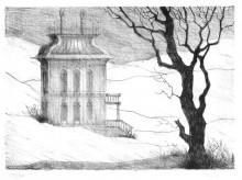 Paul Flora Lithographie Ein leeres Haus