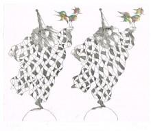 Paul Flora - Harlekine mit Ziervögeln