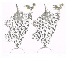 Paul Flora Harlekine mit Ziervögeln
