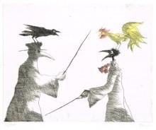 Paul Flora - Monsieur Corbeau und ein Pestarzt streitend
