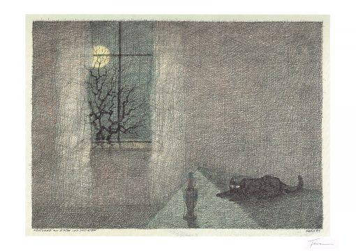 Paul Flora Notturno mit Katze und Soldaten