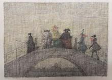 Paul Flora Venezianische Brücke mit Karnevalsfiguren