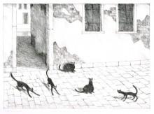 Paul Flora - Fünf venezianische Katzen (Andruck)
