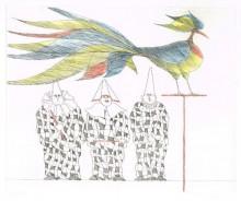 Paul Flora - Ziervogel mit drei Harlekinen