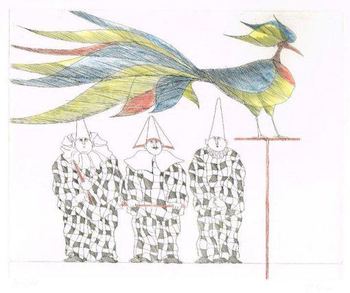 Paul Flora Ziervogel mit drei Harlekinen