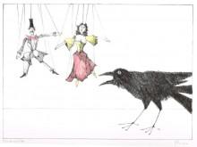 Paul Flora - Zwei Marionetten und ein Rabe
