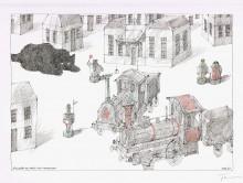 Paul Flora Stilleben mit Katze und Lokomotiven