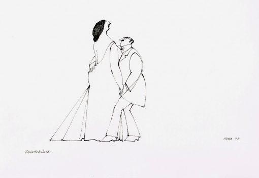 Paul Flora Zeichnung Ballvergnügen