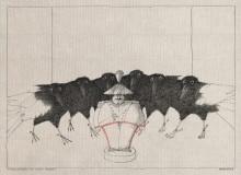 Paul Flora Zeichnung Carabiniere und sechs Raben
