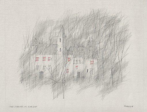 Paul Flora Zeichnung Das Schloss im Walde