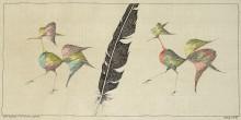 Paul Flora Zeichnung Eine Feder und zwei Vögel