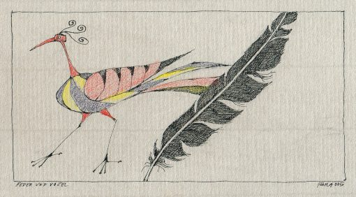 Paul Flora Zeichnung Feder und Vogel