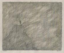 Paul Flora Zeichnung Im Nebel