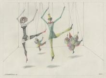 Paul Flora Zeichnung Marionettenballett IV