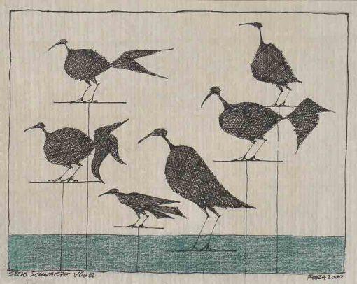 Paul Flora Zeichnung Sechs schwarze Vögel
