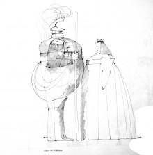 Paul Flora Königin und Leibgardist - aus dem Nachlass