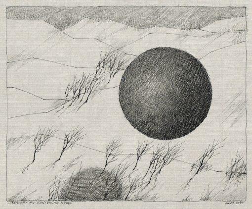 Federzeichnung Paul Flora Landschaft mit schwebender Kugel