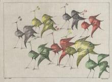 Paul Flora Zeichnung Acht Vögel