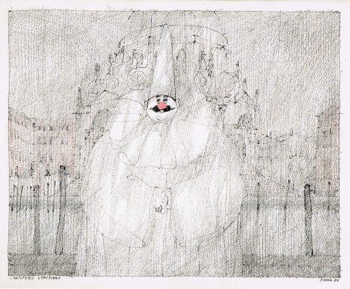 Paul Flora Zeichnung Carnevale Veneziano II
