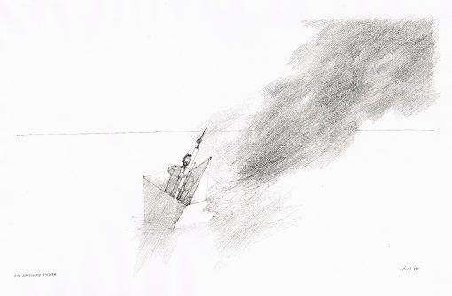 Paul Flora Zeichnung Der standhafte Dichter
