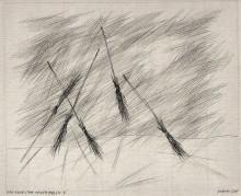 Paul Flora Zeichnung Der Tanz der Hexenbesen