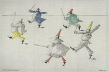 Paul Flora Zeichnung Fünf eilende Figuren