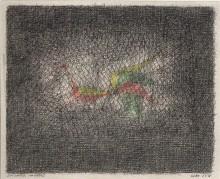 Paul Flora Zeichnung Ein Vogel im Käfig
