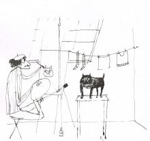 Paul Flora Zeichnung Im Atelier (Die Zeichnung als Ausschnitt1)