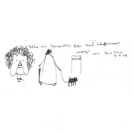 Paul Flora Zeichnung Im Atelier (Ausschnitt2)