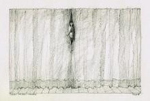 Paul Flora Zeichnung Kommödiant hinterm Vorhang