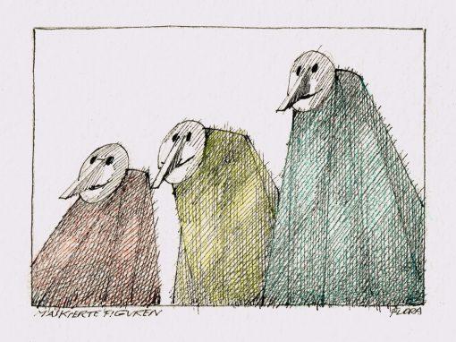Paul Flora Zeichnung Maskierte Figuren