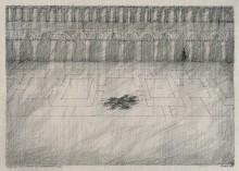 Paul Flora Zeichnung Piazza San Marco mit Rattenmeeting