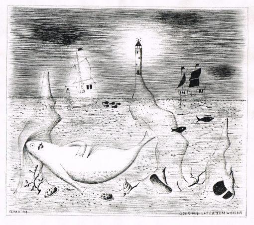 Paul Flora Zeichnung Über und unter dem Wasser