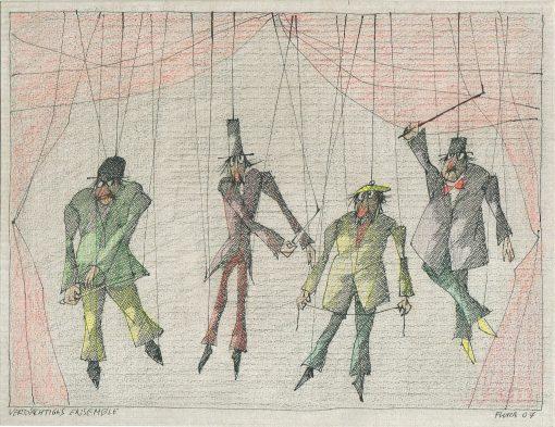 Paul Flora Zeichnung Verdächtiges Ensemble