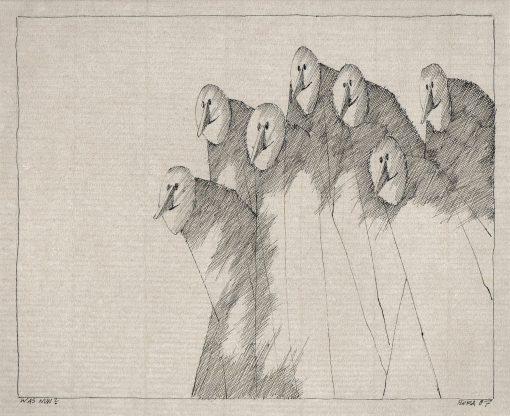 Paul Flora Zeichnung Was nun