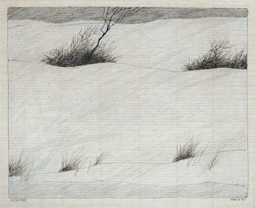 Paul Flora Zeichnung Winter