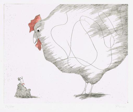 Der schreckliche Traum vom großen weißen Huhn Paul Flora Radierung