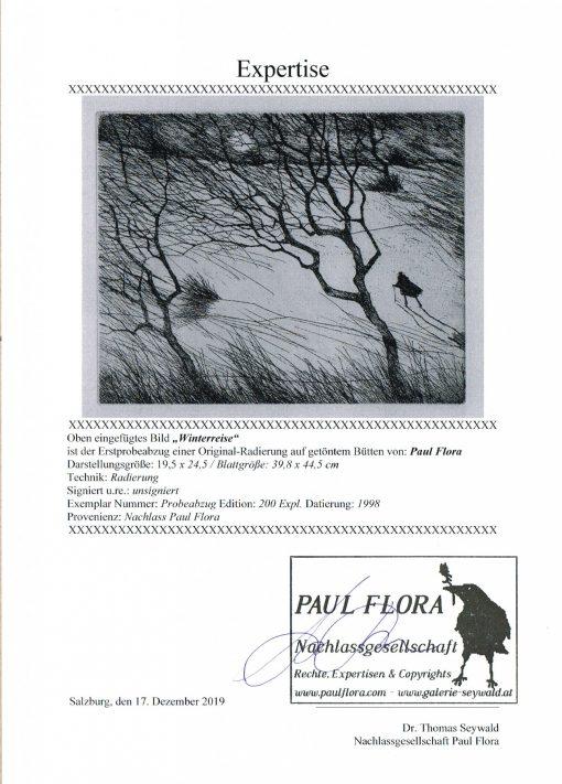 Paul Flora Radierung Winterreise Expertise