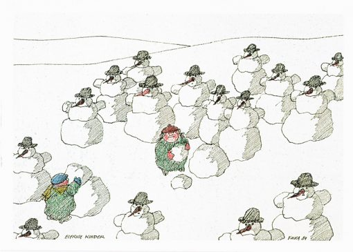 Postkarte Paul Flora Eifrige Kinder