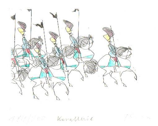Paul Flora Radierung Kavallerie