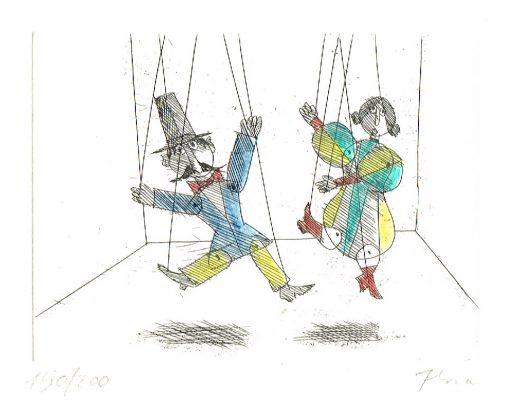 Paul Flora Radierung Marionettenpaar
