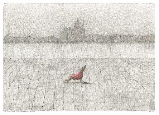 Paul Flora La Giudecca mit vornehmem Hund Postkarte