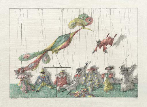 Paul Flora Poster Ziervogel und Marionetten